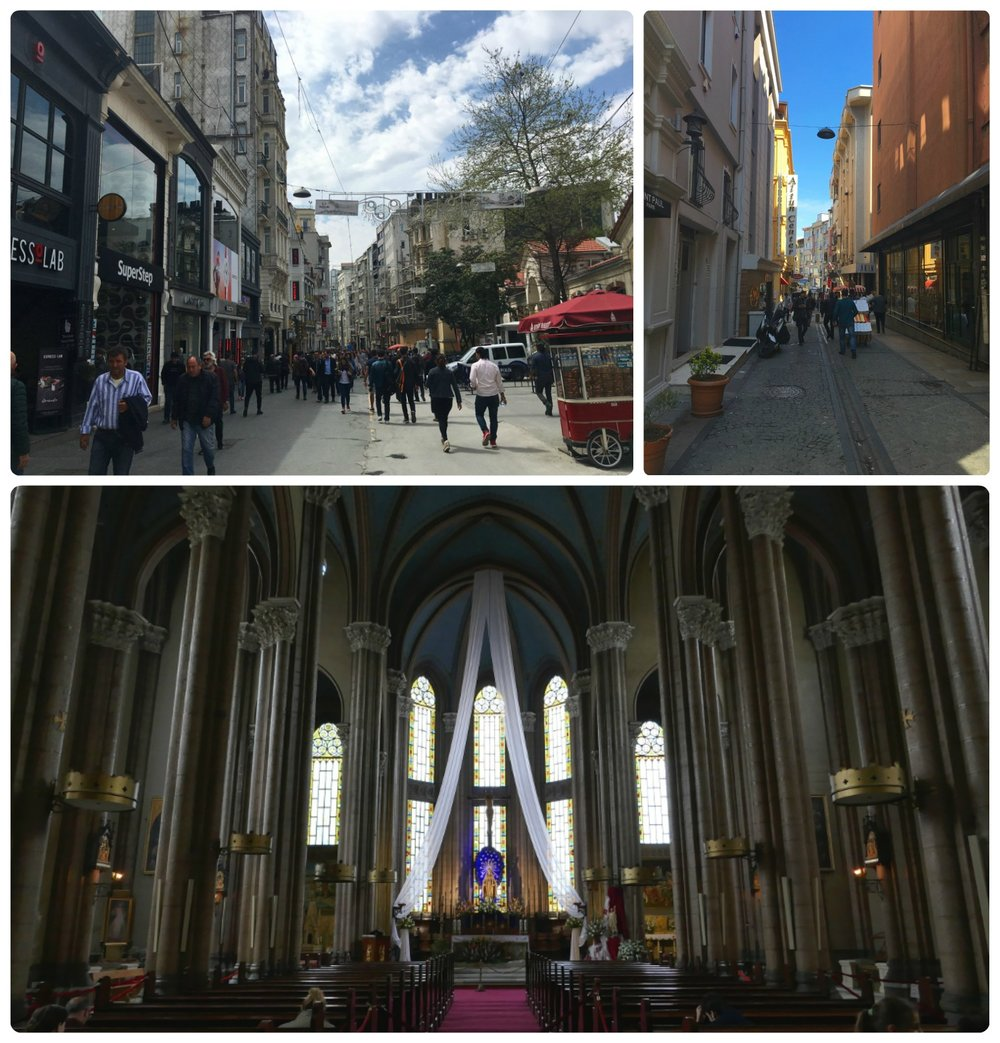 Clockwise (from the top): İstiklal Avenue, looking down a side street, inside the Church of St. Anthony of Padua.