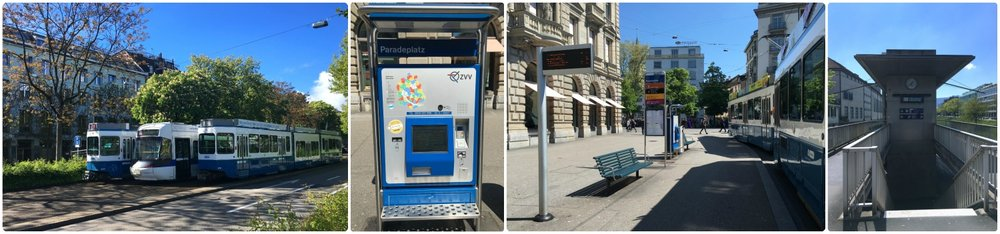 Left to right: Zurich trams both old and new, a ticket machine located at a tram stop, a tram stop in city center, entrance to a rail station (Zürich Selnau) located next to the river.