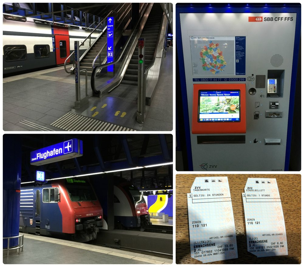 Clockwise (from the top): Airport train station and escalators going up to the airport, ticket machine for train tickets (located in the airport), tickets to get from Zurich Airport to city center, trains in the airport train station.