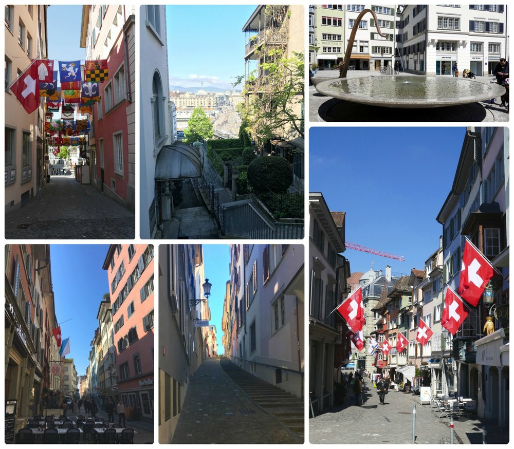 Clockwise (from the top): Swiss Canton Flags, view down the hill into city center, a large fountain in the public square next to Fraumünster Church, a street in old town lined with Swiss flags, a narrow and steep street in old town, a street lined with restaurants just off the main street and the Limmat River.