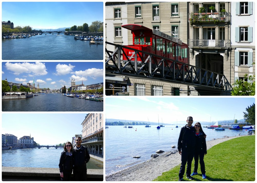 The Polybahn Furnicular (top right). Us on the shore of Zurich Lake (bottom right). Views of the Limmat river from the many bridges in Zurich  (left images).