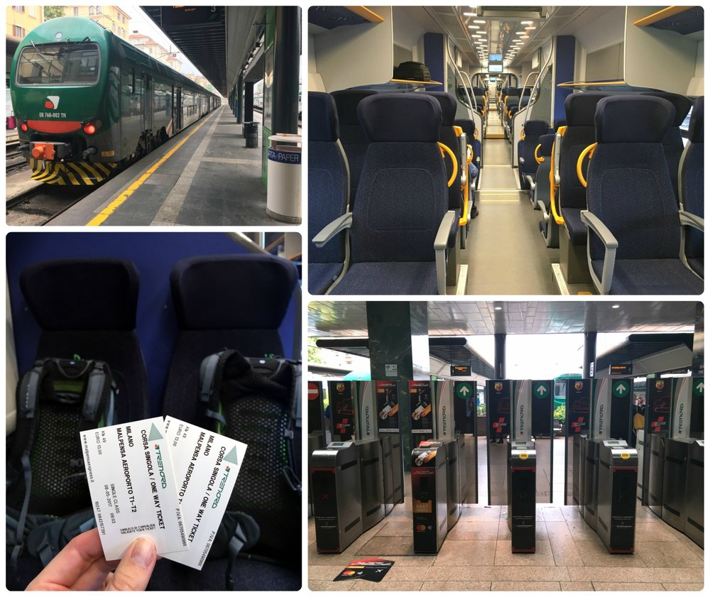 All images are of the station for the Malpensa Express train. Clockwise (from the top): The train that took us to the airport, on-board the train, the ticket gates where you insert your ticket to access the platform, us on our way to the airport with our  backpacks  and tickets.