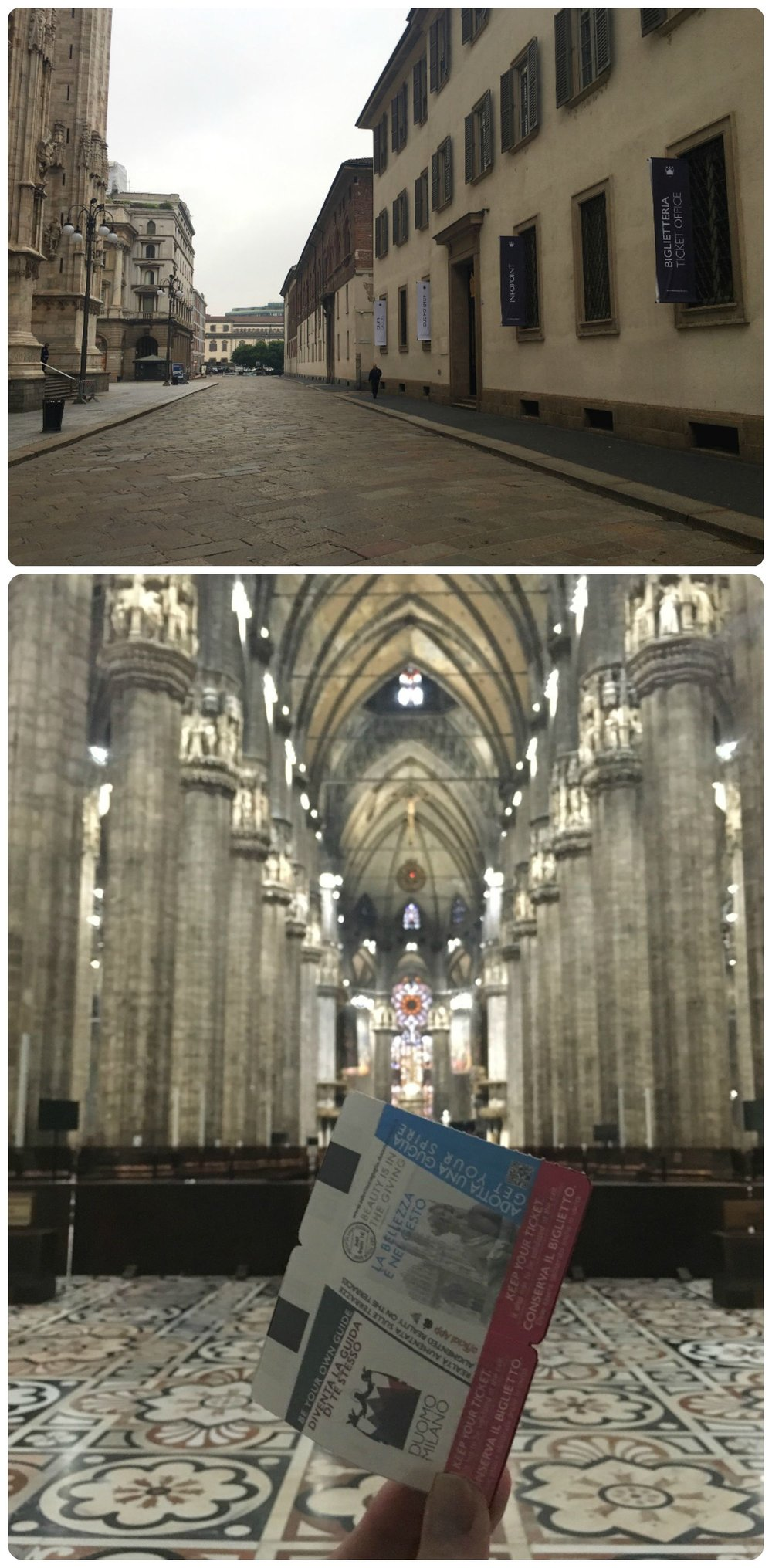 Top: The Duomo is on the left and the ticket office on the right. Notice the banners on the windows that read 'Biglietteria' and 'Ticket Office', this is where the queue lines up. Bottom: Inside the Duomo with our tickets that will get us into the Archaeological area and the Terraces.