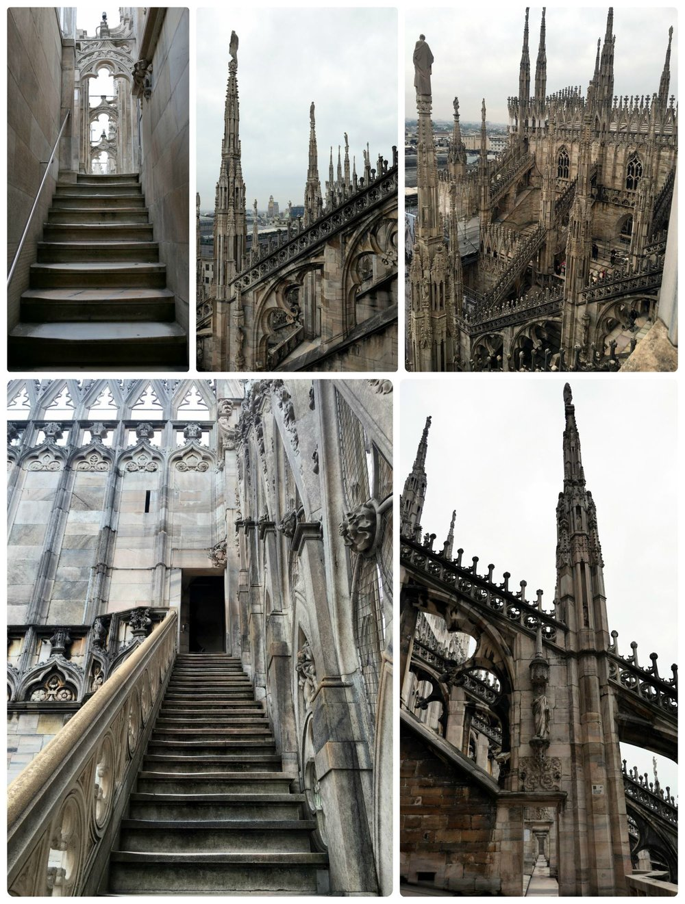 The Terraces at the top of the Milan Cathedral (Duomo) are stunning. You can take the stairs up, or a lift, but either way, there's a final flight of stairs that must be taken to get to the very top and center of the terraces.