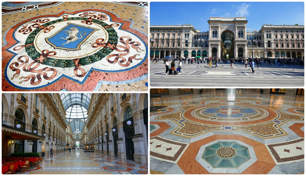 Clockwise (from the top): The mosaic on the floor with the bull that legend has it you spin on for good luck, looking at Galleria Vittorio Emanuele II from Piazza del Duomo, a close-up of the mosaic floor in the center of the gallery under the dome, looking down the length of the gallery.