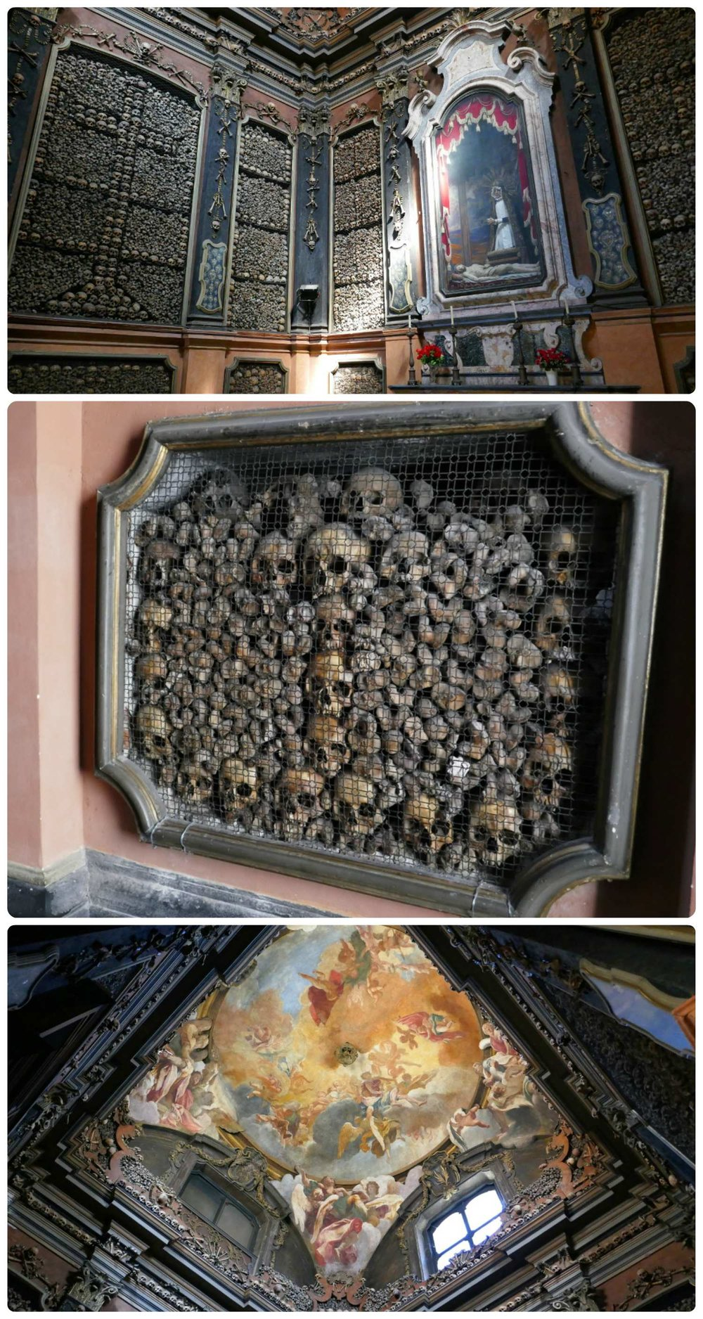 All images are of the San Bernardino alle Ossa. Top to bottom: the walls and alter of the small chapel, a panel on the side wall filled with skulls and bones, the painting on the dome in the chapel.