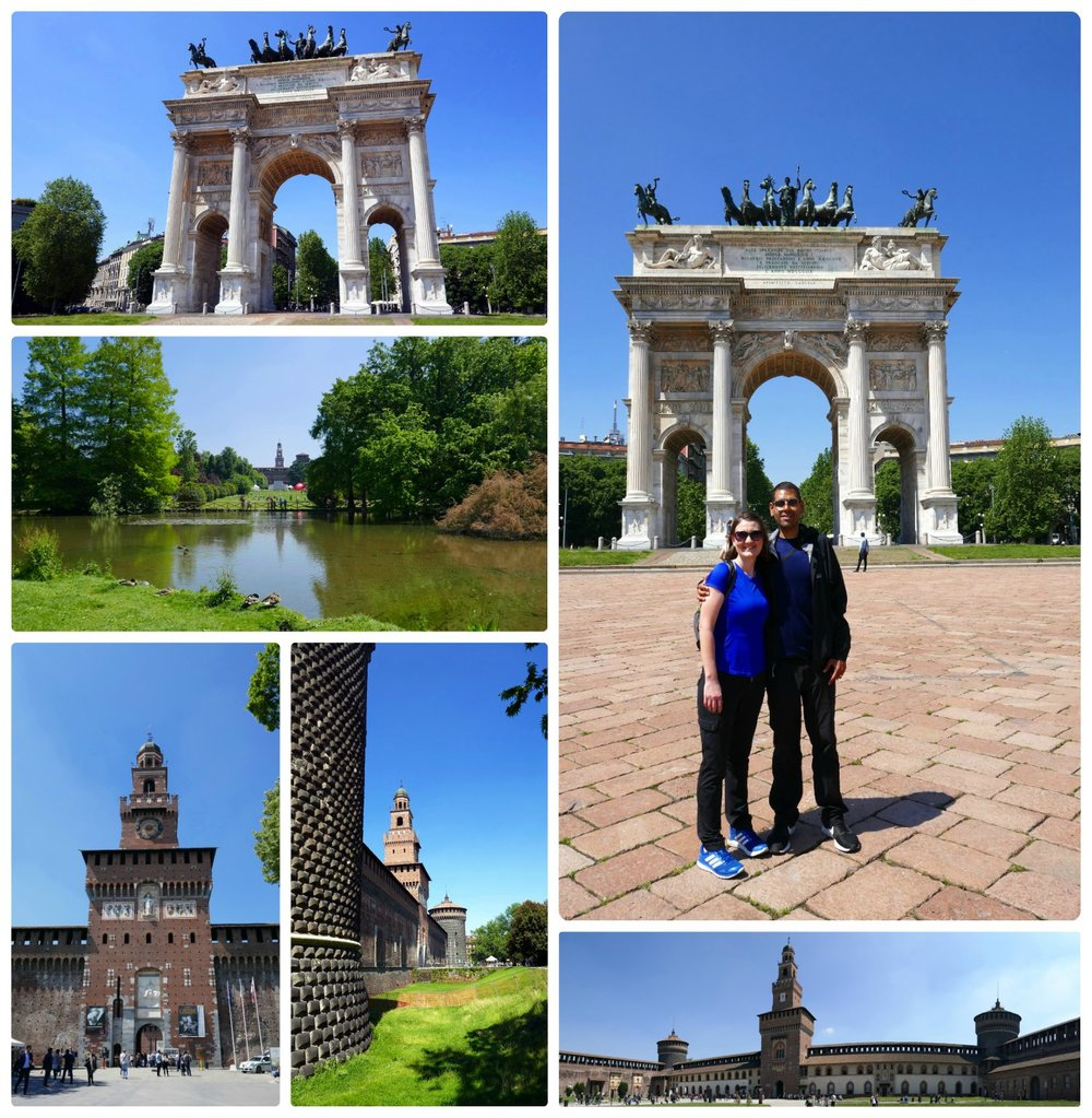 Clockwise (from the top): Arco Della Pace, us in front of Arco Della Pace, a panorama from the courtyard inside the Sforzesco Castle, a view of the castle from outside the wall, the tower and gate of the castle.