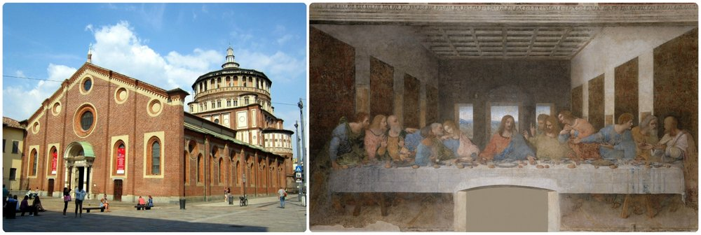 Left to right: Basilica di Santa Maria delle Grazie, Leonardo da Vinci's The Last Supper.