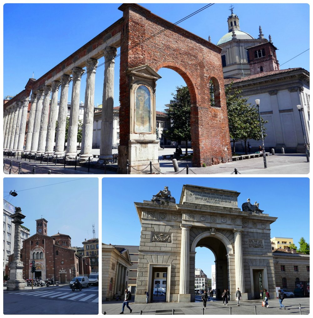 Clockwise (from the top): Columns of San Lorenzo, Church of San Babila, Porta Garibaldi