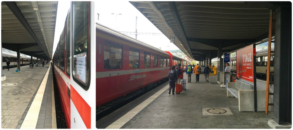 The transfer in Chur, from the Zurich train to the Bernina Express is simple. It takes only a couple of minutes to cross the platform, and when we arrived in Chur, the Bernina Express was waiting for us.