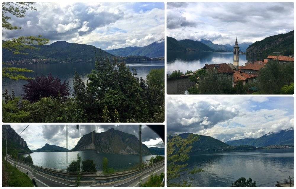 The views continued on our train to Milan. The journey took us along Lake Como and it was beautiful! We tried taking a panorama, it doesn't look great, but it gives a good idea of the full scenery we appreciated (bottom left image).