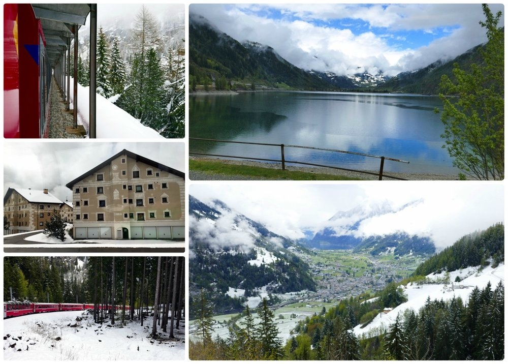 As we came out of the alps, the snow thinned and gave way to greenery, lakes, and orchards.