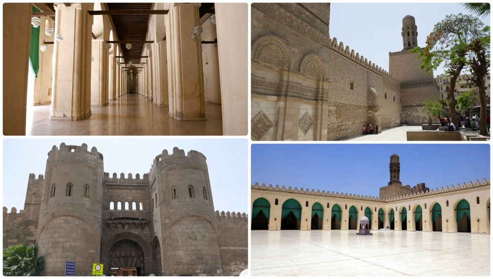 Clockwise (from the top): An arcade at the Al Jame' Al Anwar Mosque, the wall and exterior of the Al Jame' Al Anwar Mosque, the Bab al-Futuh ('Bab' means 'gate' in English), the courtyard (sahn) at Al Jame' Al Anwar Mosque.