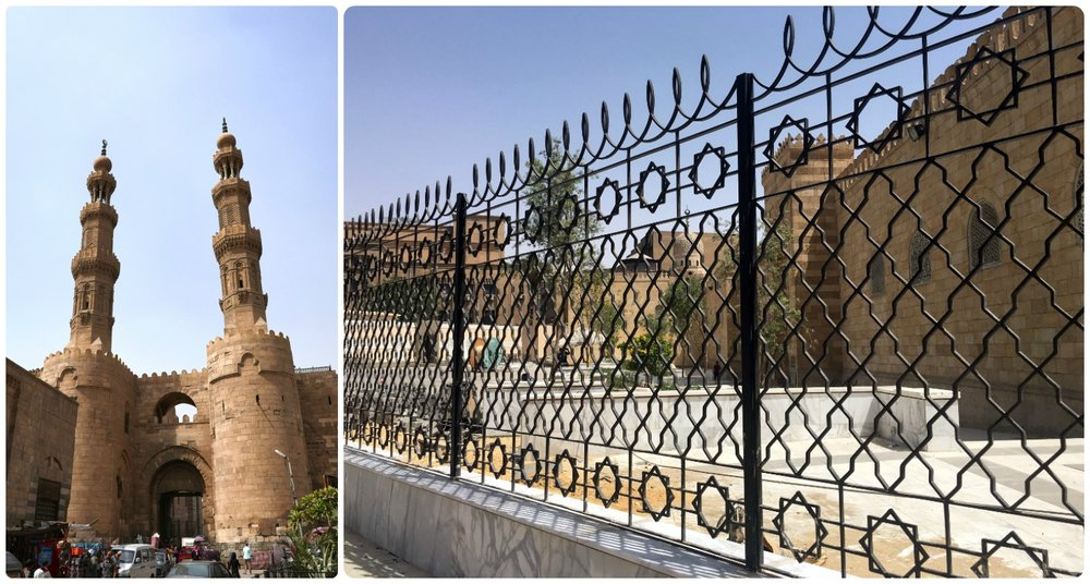 Left to right: Bab Zuwayla ('bab' means 'gate' in Arabic), Al-Azhar Mosque as seen through the gate - it was under renovation.