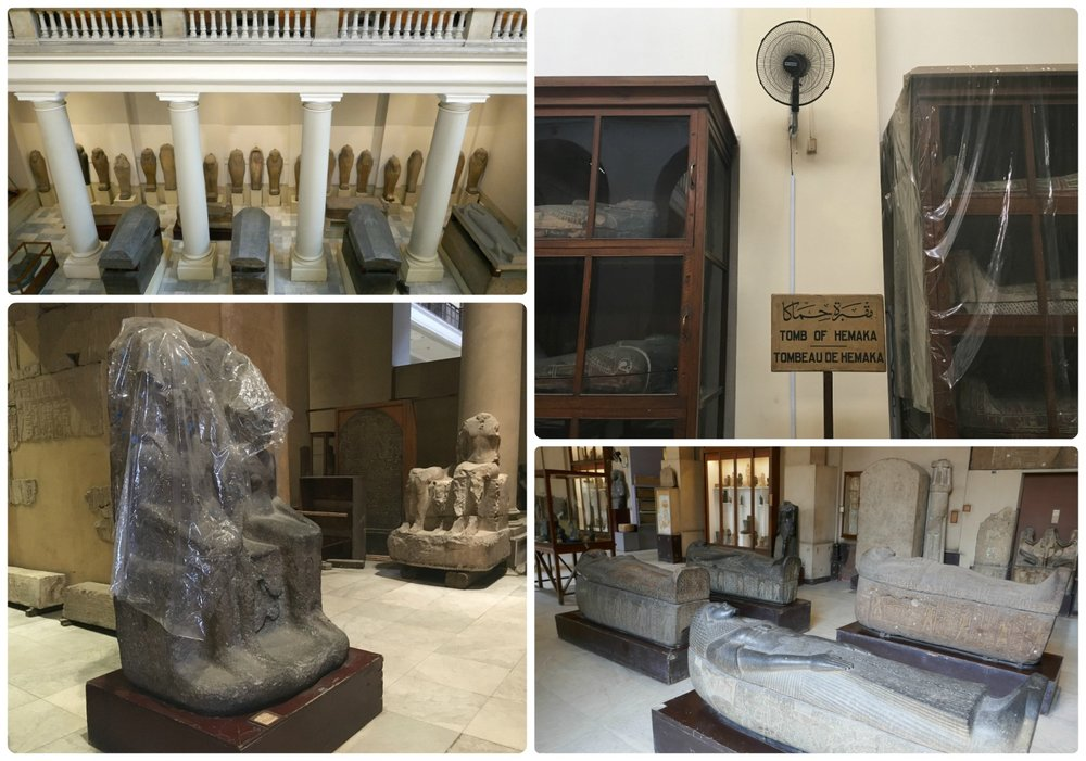 Clockwise (from the top): On the second floor looking down at the tombs and sarcophagi, the cabinets holding artifacts and the fan cooling the expansive hall, the hallway holding an array of Egyptian artifacts, a sculpture draped in plastic (we don't know why).
