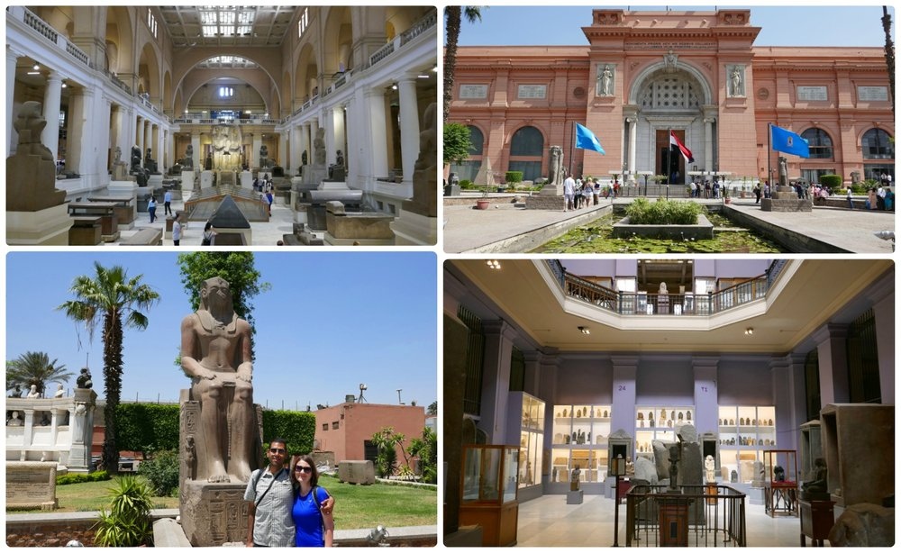 Clockwise (from the top): The main hall at the center of the Egyptian Museum, the exterior of the Egyptian Museum, one of the 100 halls in the museum with Egyptian artifacts, us outside of the museum.
