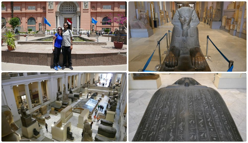Clockwise (from the top): Us in front of the Egyptian Museum, a sphinx, a sarcophagus with hieroglyphics on it, view of the main hall in the Egyptian Museum from the second floor.