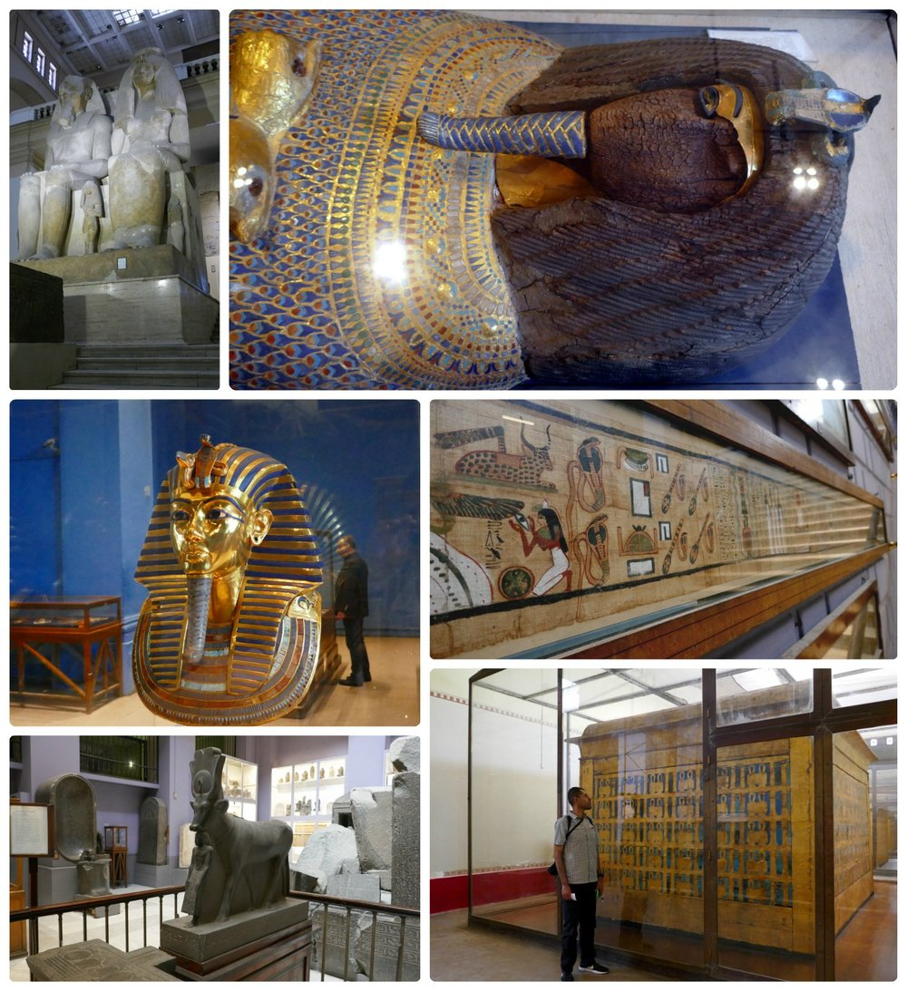 All images are of artifacts in the Egyptian Museum. Sadly, many items aren't labeled. Clockwise (from the top): The towering statue of King Amenhotep III and Queen Tiye, a sarcophagus from tomb 55, King Tutankhamun's Golden Mask, hieroglyphs on papyrus paper, Sergio in front of a large gold box artifact, several artifacts shown in a hall of the museum.