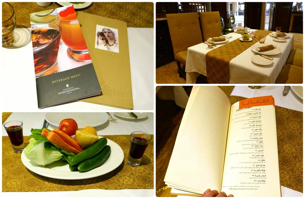 Clockwise (from the top): The Sabaya drink and dinner menu (both are in English and Arabic), the classic and simple table setting, the back half of the menu is Arabic, the vegetable plate and the sweet hibiscus-ginger drink that were complementary with the meal.