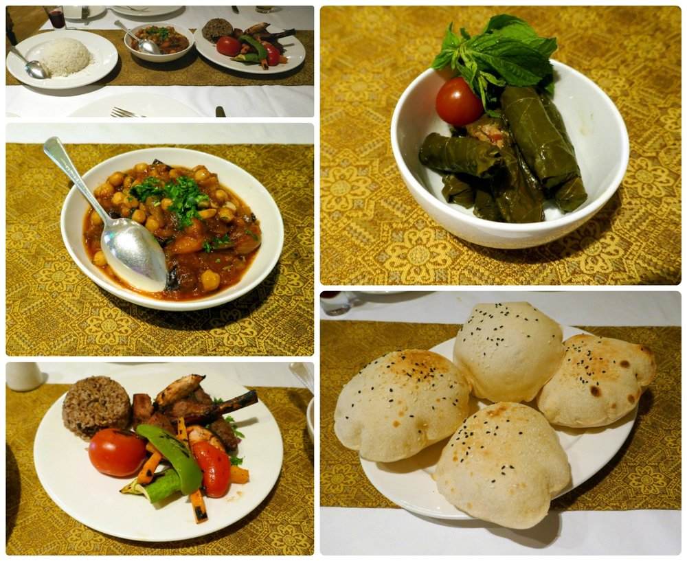 Try being served these delicious plates of food and pause for a picture before digging in! Clockwise (from the top): A side of white rice with the Moussaka and the Sabaya Mixed Grill, the Warak Enab (served cold), the Aysh Baladi (pita bread) that was replenished throughout the meal, the Sabaya Mixed Grill, the Moussaka.