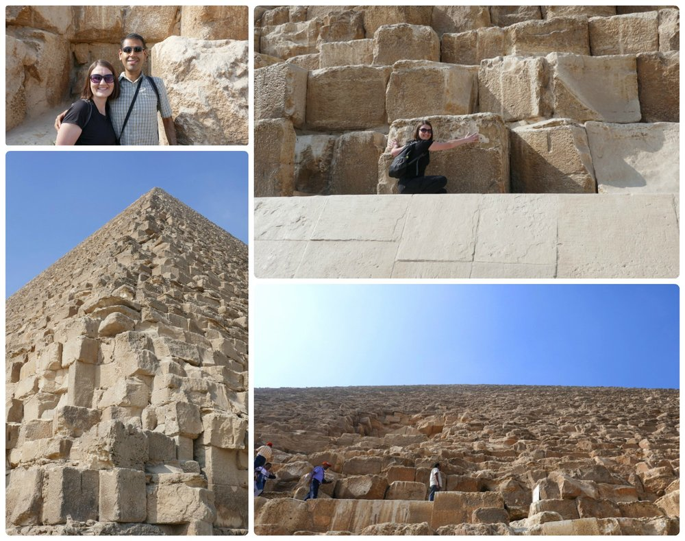 Clockwise (from the top): Us in front of the Great Pyramid of Giza, Shannon showing the sheer massive size of the stone blocks that make up the pyramid, the view looking up at the Great Pyramid of Giza from the base of it - where you can see people walking towards the pyramids entrance (you can make out the entrance in the picture from the small hole of missing stone blocks), looking up at the Great Pyramid of Giza from the corner of the pyramid.