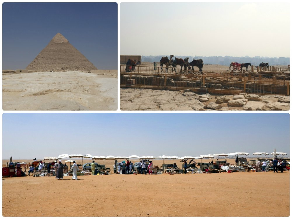 Clockwise (from the top): Pyramid of Khafre taken from the walkway behind the Great Sphinx of Giza, camels and horses with the city in the background, a row of vendors at the main outlook.