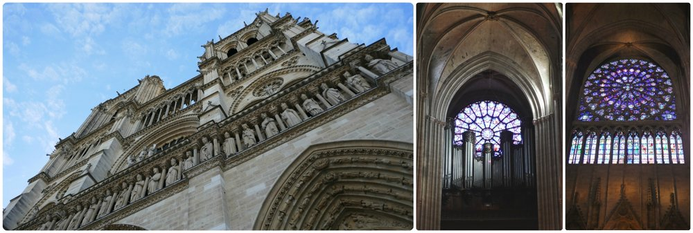 Left to right: The exterior of Notre-Dame Cathedral, the West Rose Window behind the organ, the South Rose Window.