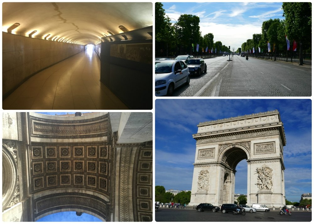 Clockwise (from the top): Looking down the passageway below Place Charles de Gualle that leads to the center of the roundabout and the Arc de Triomphe, looking down Champs-Élysées from the Arc de Triomphe, the Arc de Triomphe, looking up at the center archway.