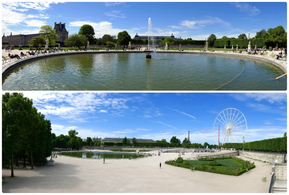 Two panorama views of Tuileries Garden.