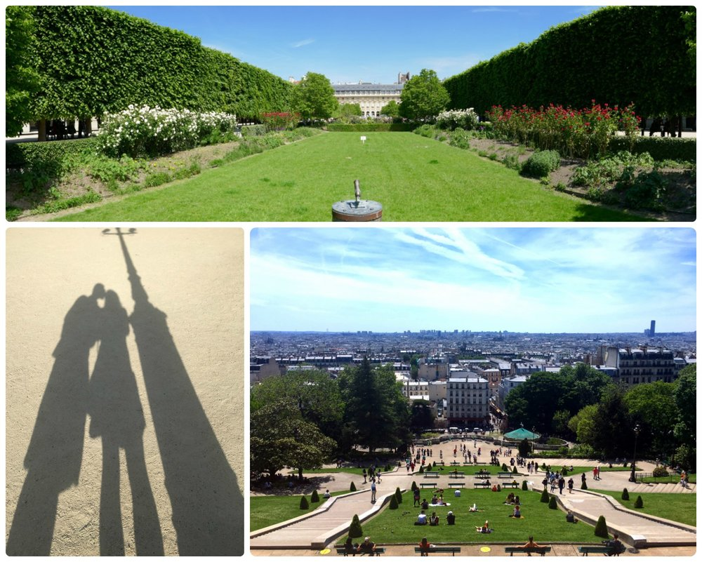 Clockwise (from the top): A garden at Le Palais Royal, the view from Sacré-Cœur (Basilica of the Sacred Heart of Paris) and the garden below, our shadows in one of the many Paris parks.