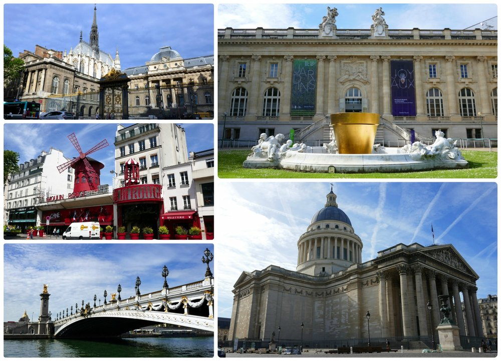 Clockwise (top to bottom): A view of Sainte Chapelle from across the street, a golden sculpture in front of the Grand Palais, the exterior of the Patheon, Pont Alexandre III, the exterior of Moulin Rouge.