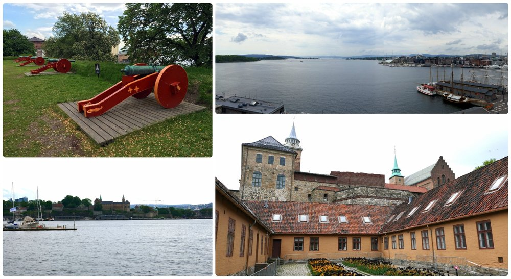 Clockwise (from the top): Cannons that line the grass at the fortress, the view of the fjord from Akershus Fortress, walking through the fortress and looking up at it, looking across the water to the fortress on the hill.