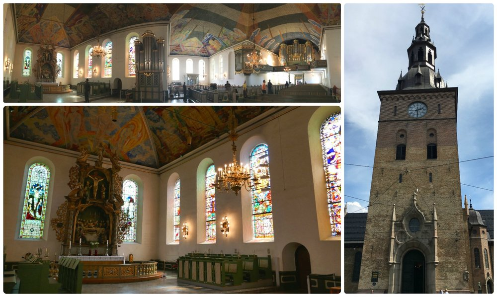 The interior and exterior of Oslo Cathedral. The murals, organ, chandeliers, and altars in the church are worth the visit!