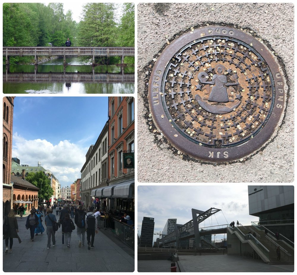 Clockwise (from the top): Sergio on a pedestrian bridge over the Akerselva River, walking around town we noticed the unique and pretty sewer grates, walking through city center we came across this pedestrian bridge, the street heading towards Oslo Central Station was busy.