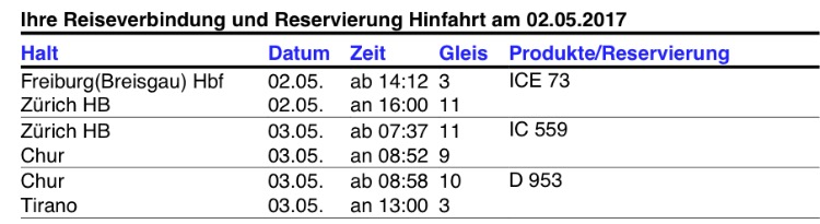 This is a screenshot of our itinerary booked through German Railways. As you can see, our journey starts in Freiburg (Breisgau) the day before we take the Bernina Express (on May 2nd), although, we didn't ride this leg of the trip. The following day (May 3rd), we have a 7:37 am train leaving Zurich and arriving in Chur at 8:52 am. The Bernina Express starts in Chur, leaving at 8:58 am (don't worry about the 6 minute transfer, it's plenty of time, as you're just crossing a platform). We then arrive in Tirano, Italy the same day at 1 pm.