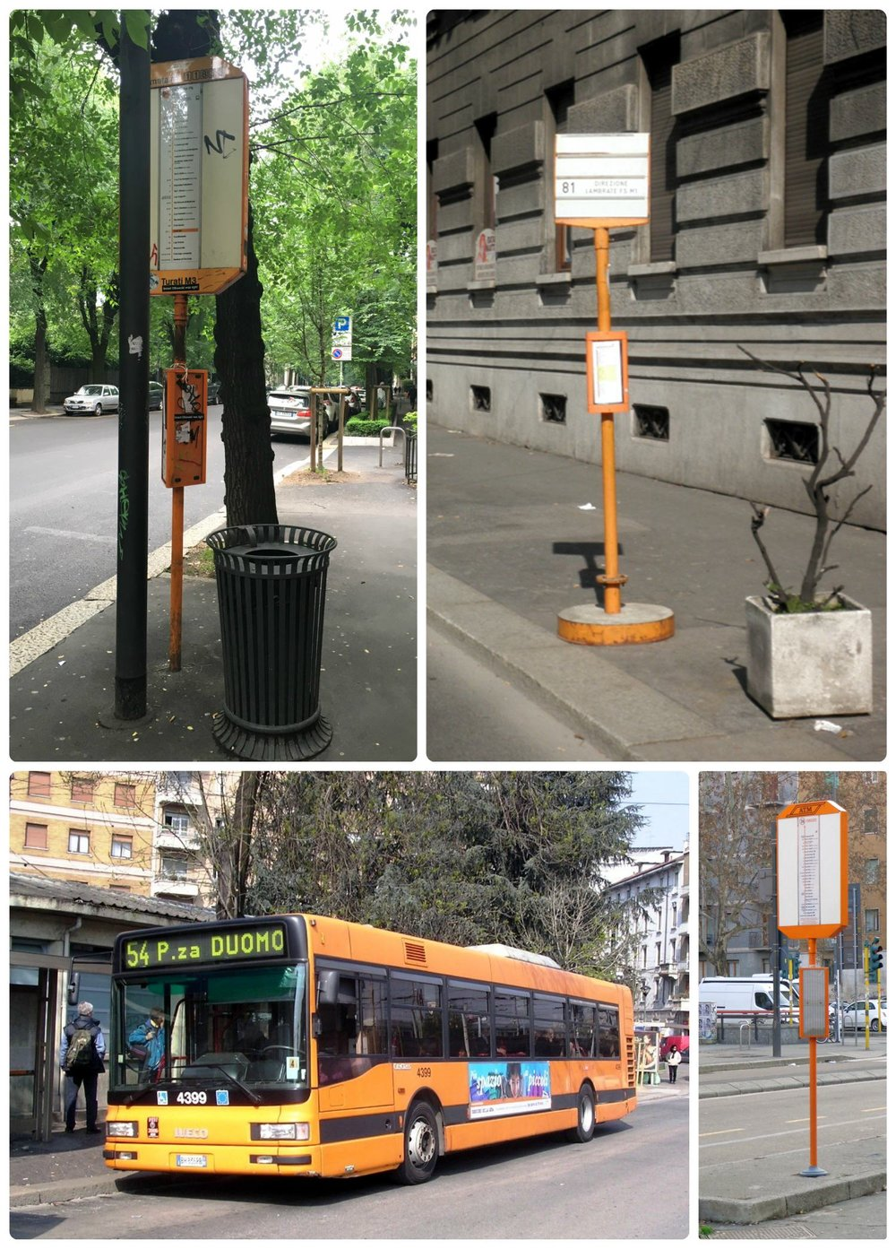 Milan bus stations aren't always easy to spot. Locate stops by looking for the yellow sign posts that list all the stops on the line.