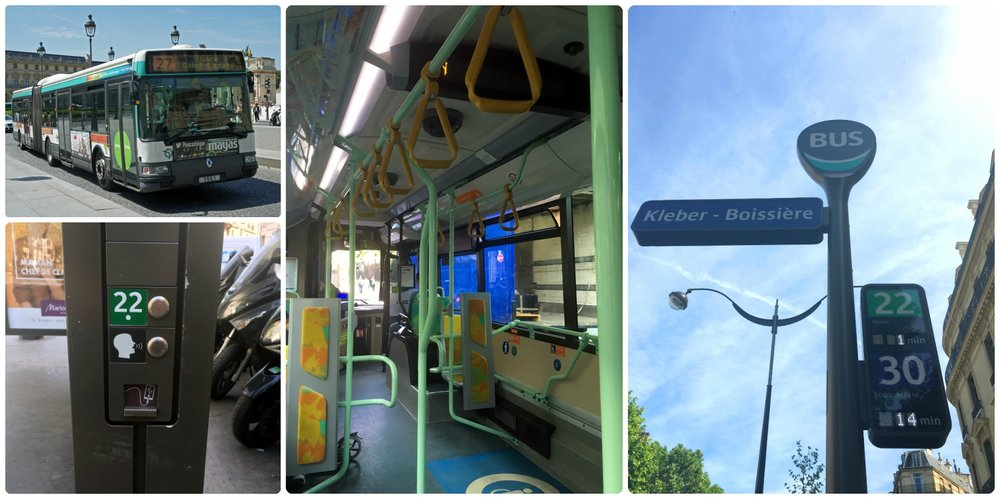 Clockwise (from the top): a Paris bus, on-board a bus, a bus stop for lines 22 and 30 - notice the digital sign displays the time until the next bus arrives, on the side of the bus stop we found a USB charging port.