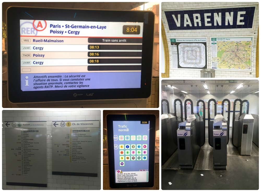 Clockwise (from the top): Large stations have digital touch screens to help travelers navigate the station and routes, maps at the Varenne station, the turnstiles at an RER station (insert your ticket into the slot and it will be returned to you as the gates are opened), a digital touch screen in a station, route maps in a station that help determine which platform and train you need to take.