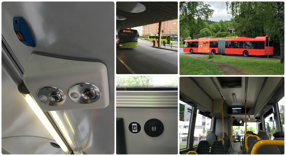 Clockwise (from the top): Some buses had overhead lights, green buses are regional buses, red buses are local buses, on board a bus looking towards the digital screen that shows upcoming stops, some buses had USB ports for charging.