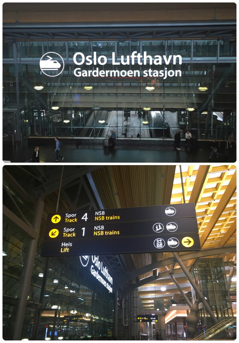 Top to bottom: The front of the train station from the Oslo (OSL) airport as seen from the terminal, a sign within the airport with for the NSB train platforms (Spor or Track).
