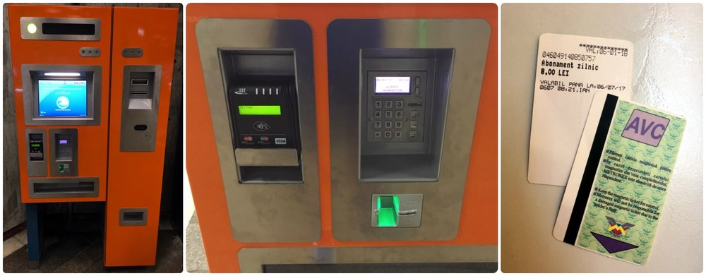 Left to right: Metro ticket machines are in the station and easy to spot since they're bright orange, an up close picture of the ticket machine payment area showing that credit cards are accepted (contactless or chip cards accepted), the Daily Pass tickets we used to do sightseeing in Bucharest.
