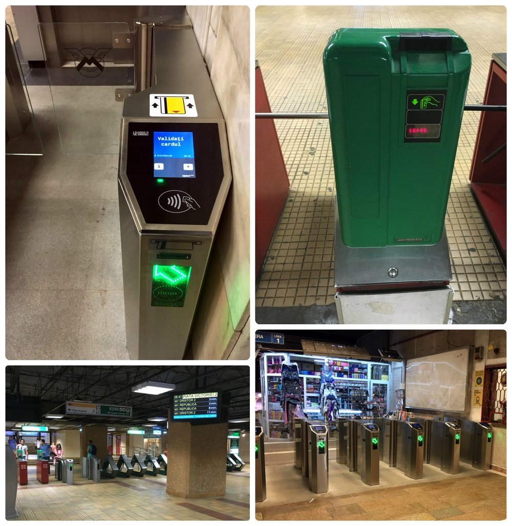 Clockwise (from the top): Up close view of the digital turnstile to validate tickets, the older green mechanical turnstile, looking at the row of turnstiles to enter the metro station, inside the metro station looking at the turnstiles to exit the station.
