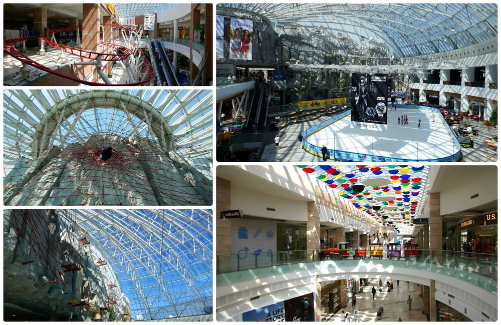 AFI Cotroceni - Clockwise (from the top): The indoor roller-coaster in the mall, the ice-skating rink, looking down the mall with the shops and brightly colored umbrellas above head, the adventure wall in the mall, above the adventure wall was a spider and its web.