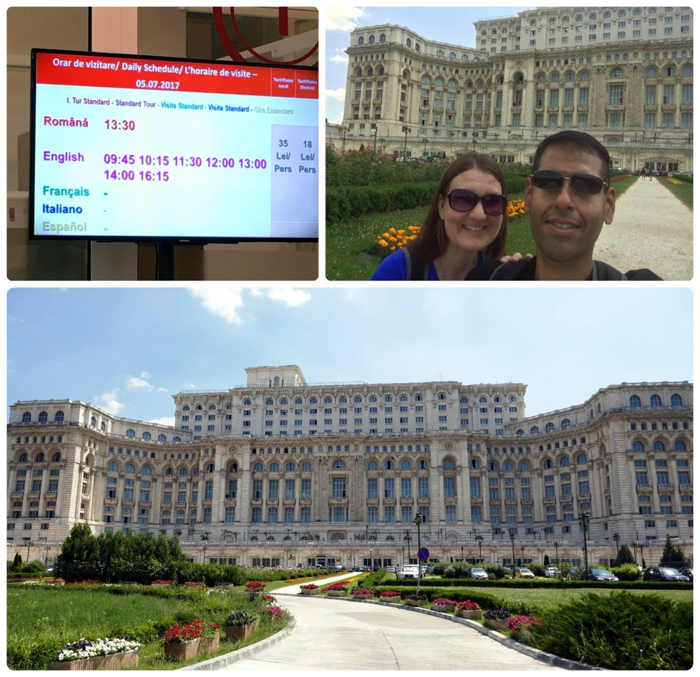Clockwise (from the top): Inside there's a screen with the times of the tours for that day, us posing infront of the Palace of the Parliament, it's hard to get the entire building in frame - but we tried!