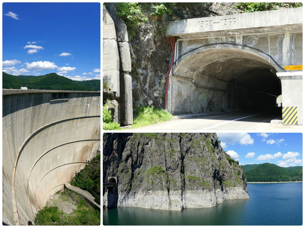 Clockwise (from the top/left): Vidraru Dam can be a dizzying view from the top for those uneasy of heights, this is the tunnel we passed through right before reaching the Vidraru Dam, a view of Lake Vidraru