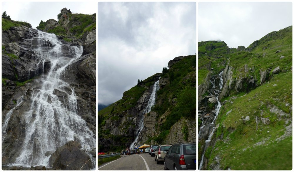 There were numerous waterfalls along the Transfagarasan Highway. The largest was Balea Falls (the left and middle image) where visitors lined the street to stop and take pictures.