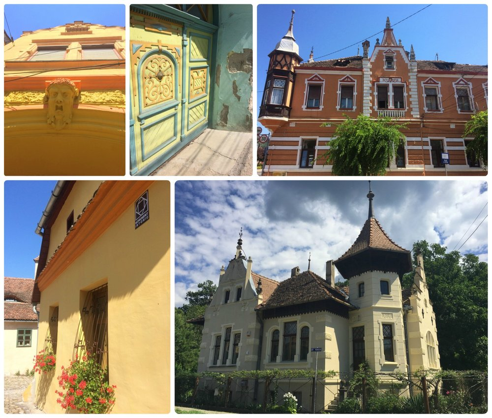 We were enchanted by the homes and buildings in Sighisoara! We also appreciated that historic buildings had a 'Historic Monument' placard on them for easy recognition (lower left image).