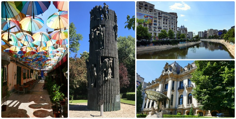 These points of interest weren't on our sightseeing map, but walking around town led us to these hidden gems! Clockwise (from the left): The colorful umbrellas at Pasajul Victoria, the Slava Infanteriei Monument (Infantry Glory Monument) at Kiseleff Park, the Dambovita River runs through downtown Bucharest, the exterior of Muzeul Nanional George Enescu caught our attention when we walked past it.