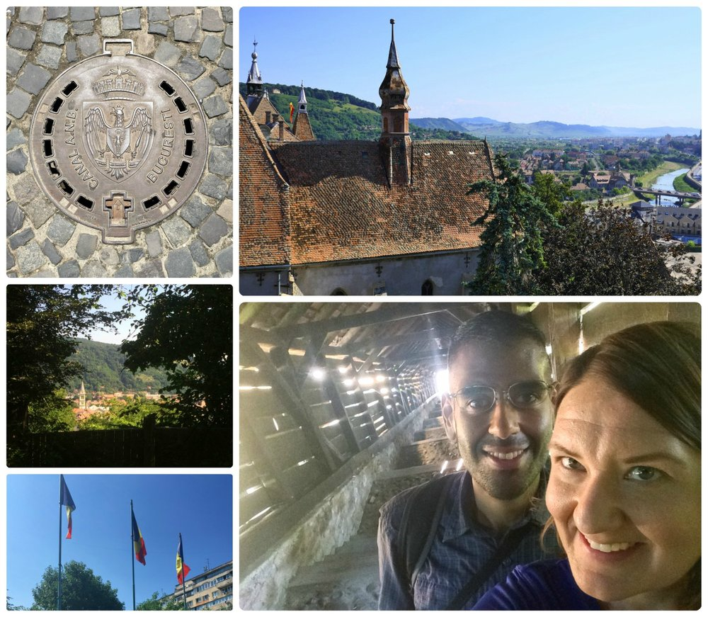 Romania was an amazing experience that we won't soon forget (if ever)! Clockwise (from the top): A manhole cover that's uniquely Bucharest's, looking over the Transylvania countryside from the Sighisoara Clock Tower, a selfie shot in the Scholars' Stairs in the Sighisoara Citadel, Romanian flags, peeking through to the country side in Romania.