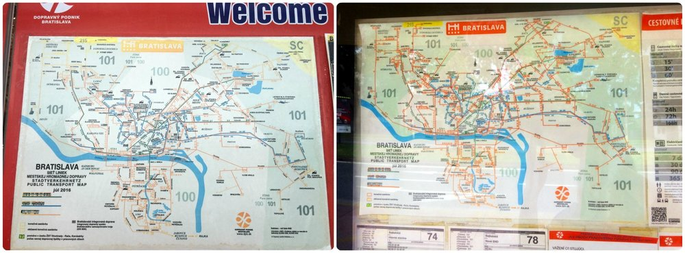 A couple examples of zone maps we found posted at bus and tram stops in Bratislava.